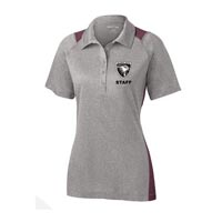 STAFF - Ladies Heather Colorblock Polo - Heather Grey with Maroon Accents