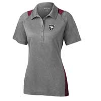 ADULT - Ladies Heather Colorblock Polo - Heather Grey with Maroon Accents