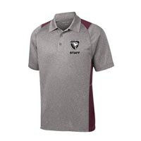 STAFF - Men's Heather Colorblock Polo - Heather Grey with Maroon Accents
