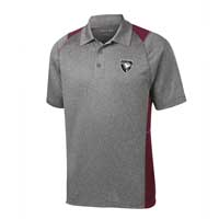 ADULT - Men's Heather Colorblock Polo - Heather Grey with Maroon Accents